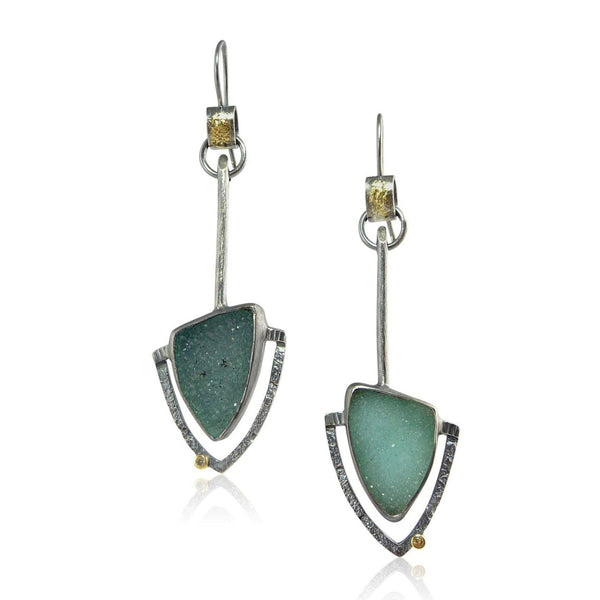 Aqua Druzy Pinnacle Earrings