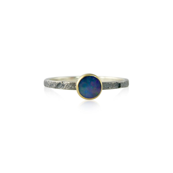 Flat Stacker with 5mm stone - opal