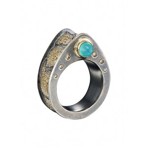 Cobblestone ring with Peruvian blue opal