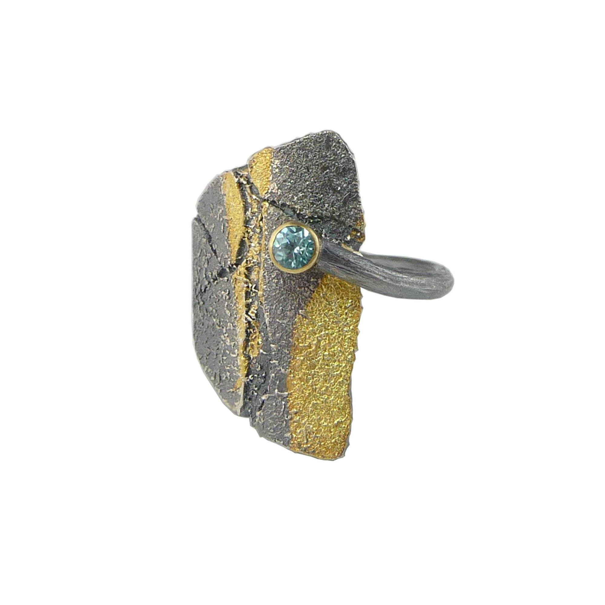 Large Bedrock Wrap Ring - Blue Zircon