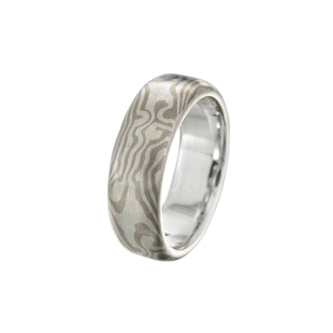 Silver/ white gold swirly Star pattern band
