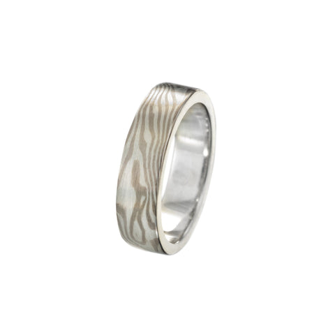 Silver/ white gold Woodgrain pattern band