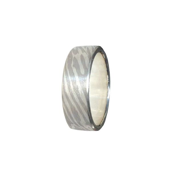 Silver/ 14K white gold Woodgrain pattern band