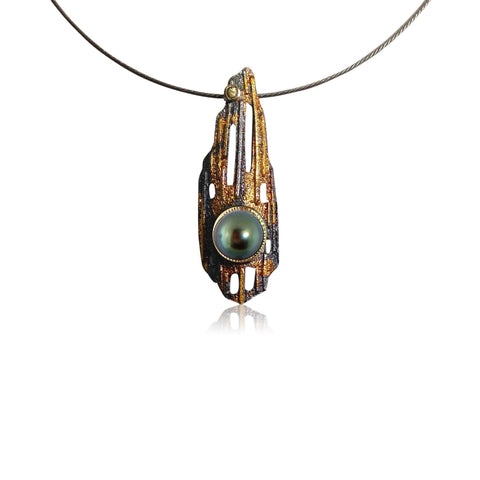 Sequoia Pendant with Tahitian Pearl - medium