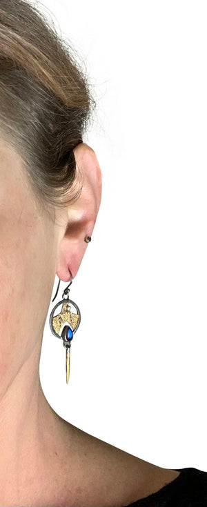 "3/4"" Terra Shield Earring - Moonstone"
