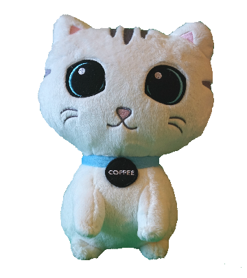 White Coffee Cat Plush Toy