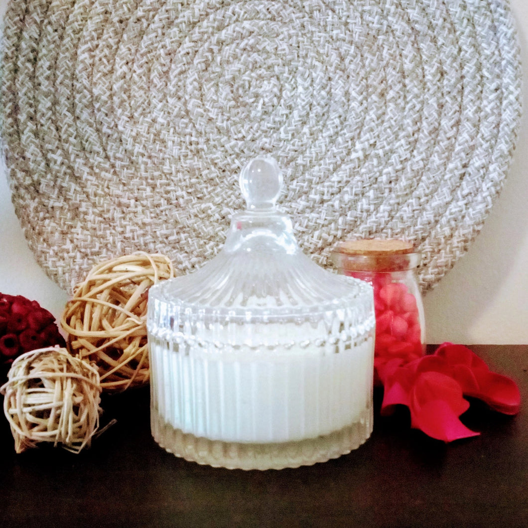 Carousel Crystal Styled Glass Jar, 100% Soy Wax Candle, 200g - Highly Scented Fragrances - Garden of Eden Pure Fragrance