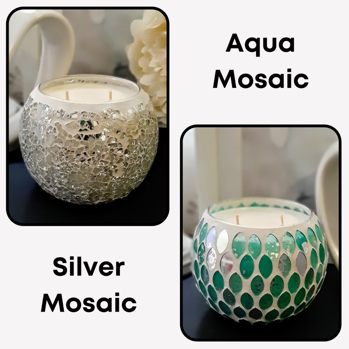 Mosaic Extra Large Natural Soy Wax Candles 430g - Highly Scented Fragrances - Garden of Eden Pure Fragrance