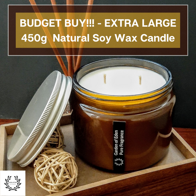 BUDGET BUY.... Amber X Large Glass Jar, with Silver Lid Natural Soy Wax Candle - Highly Scented Fragrances  ***While Stocks Last*** - Garden of Eden Pure Fragrance