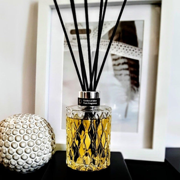 Artisan Reed Diffuser Glass Bottle, 180ml - Highly Scented Fragrance - Garden of Eden Pure Fragrance