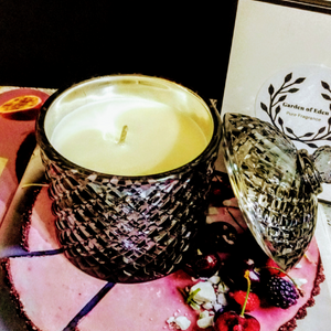 Unique Luxe Metallic Black Cupola Jar with Lid, Natural Soy Wax Candle, 300g - Highly Scented Fragrances - Garden of Eden Pure Fragrance