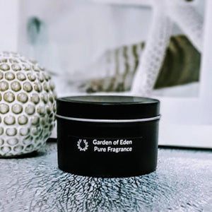 Chic Looking Matt Black Travel Tin, Extra Large, 100% Soy Wax Candle, 185g - Highly Scented Fragrances - Garden of Eden Pure Fragrance