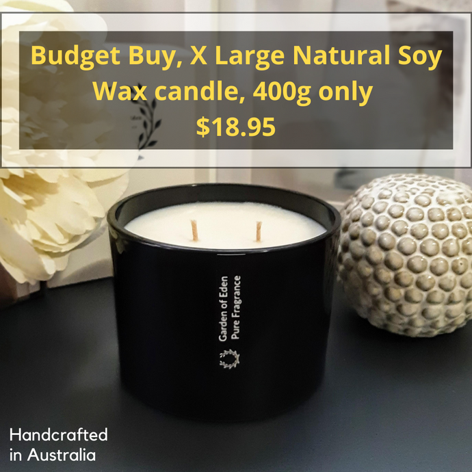 BUDGET BUY, X Large, Shallow Black Glass Jar, Double Wicked, Natural Soy Wax Candle, 400g - Garden of Eden Pure Fragrance