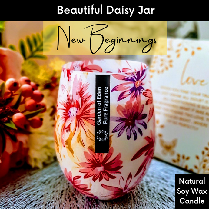 Bright & Beautiful Extra Large Daisy Jar, Single Wicked, Natural Soy Wax Candle, 450g - Highly Scented Fragrances - Garden of Eden Pure Fragrance