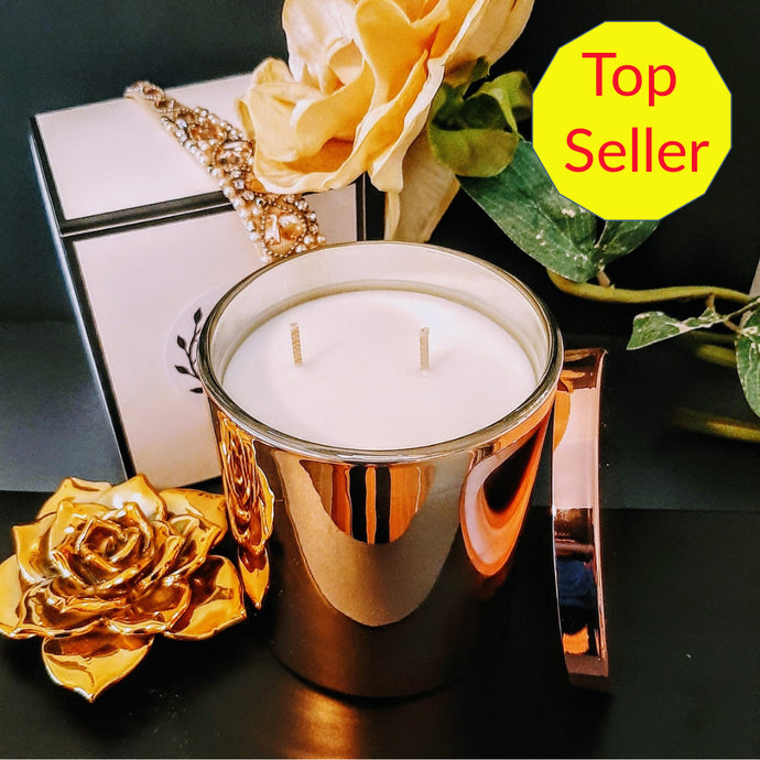 Beautiful Luxe Rose Gold Jar Extra Large with Lid - Natural Soy Wax Candle, 400g - Highly Scented Fragrances - Garden of Eden Pure Fragrance