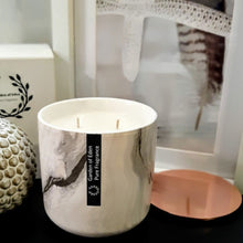 Load image into Gallery viewer, Deluxe Range - Stunning Ceramic Marble X Large Jar with Rose Gold Slimline Lid, Double Wicked, Natural Soy Wax Candle - Highly Scented Fragrances - Garden of Eden Pure Fragrance