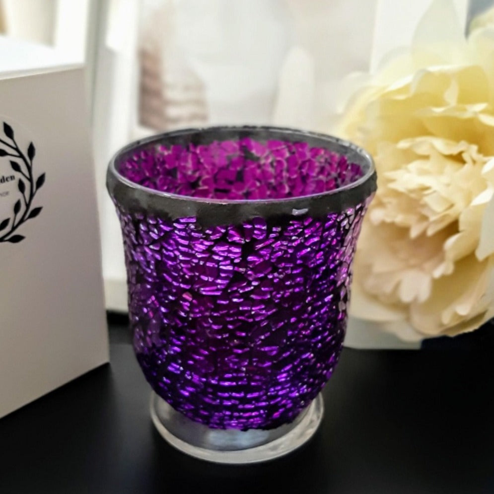 Spectacular Purple Mosaic X Large Glass Jar - Natural Soy Wax Candle, 460g - Highly Scented Fragrances - Garden of Eden Pure Fragrance