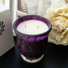 Load image into Gallery viewer, Spectacular Purple Mosaic X Large Glass Jar - 100% Soy Wax Candle, 460g - Highly Scented Fragrances - Garden of Eden Pure Fragrance