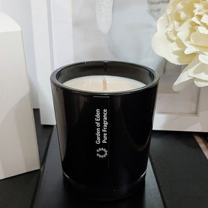 Sophisticated Opaque Black Classic Glass Jar with Gold Lid, 100% Soy Wax Candle - Highly Scented Fragrances - Garden of Eden Pure Fragrance