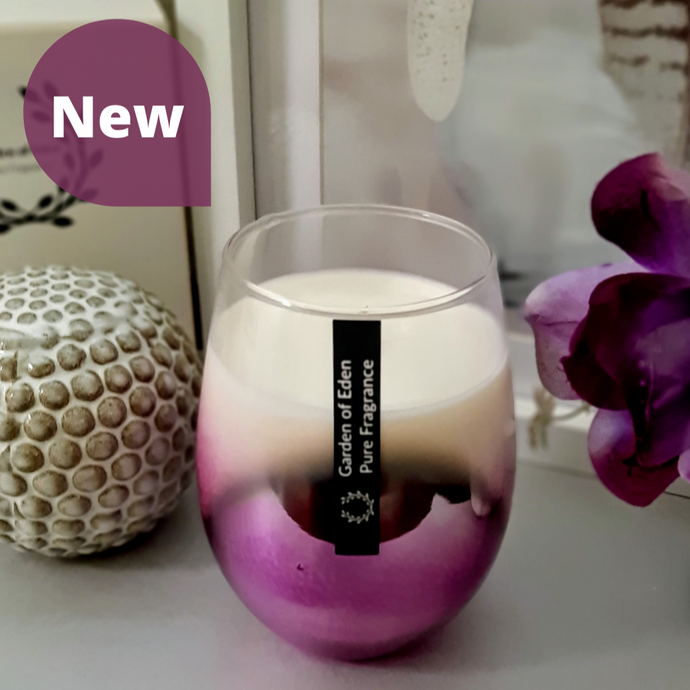 **Exclusive Product Only Found Here** - Spectacular X Large Purple Ombre Glass Jar, Natural Soy Wax Candle - Highly Scented Fragrances  ***While Stocks Last*** - Garden of Eden Pure Fragrance
