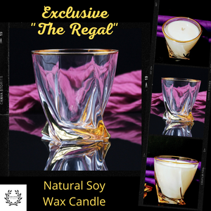 "Exclusive ""The Regal"" Glass Jar with Handcrafted Gold Features, Natural Soy Wax Candle - Highly Scented Fragrances - Garden of Eden Pure Fragrance"
