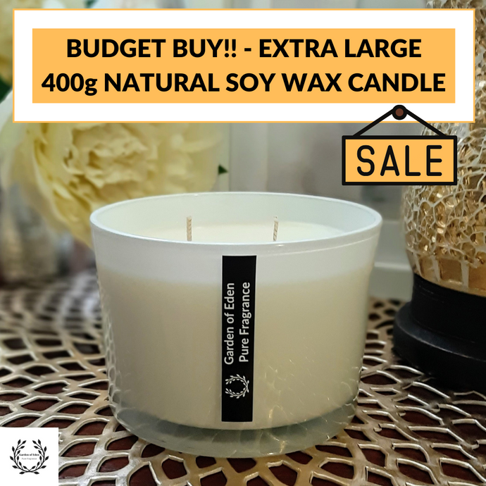 BUDGET BUY, X Large, Shallow White Glass Jar, Double Wicked, Natural Soy Wax Candle, 400g - Garden of Eden Pure Fragrance