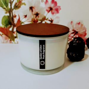 Charming X Large, Shallow White Glass Jar, 400g Double Wicked, Natural Soy Wax Candle - Highly Scented Fragrances - Garden of Eden Pure Fragrance