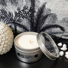 Load image into Gallery viewer, Chic Looking Silver Travel Tin with Clear Lid, Natural Soy Wax Candle, 185g - Highly Scented Fragrances - Garden of Eden Pure Fragrance