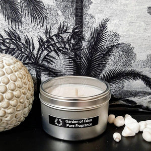 Chic Looking Silver Travel Tin with Clear Lid, Natural Soy Wax Candle, 185g - Highly Scented Fragrances - Garden of Eden Pure Fragrance