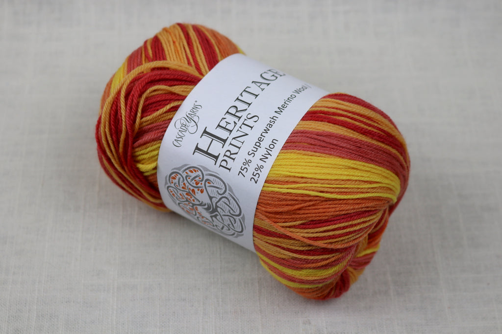 cascade yarns heritage prints 68 flames stripe
