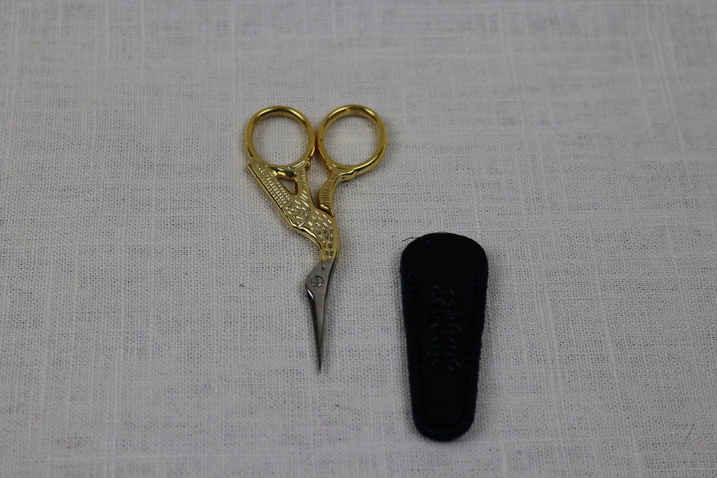 gingher embroidery scissors stork with leather sheath