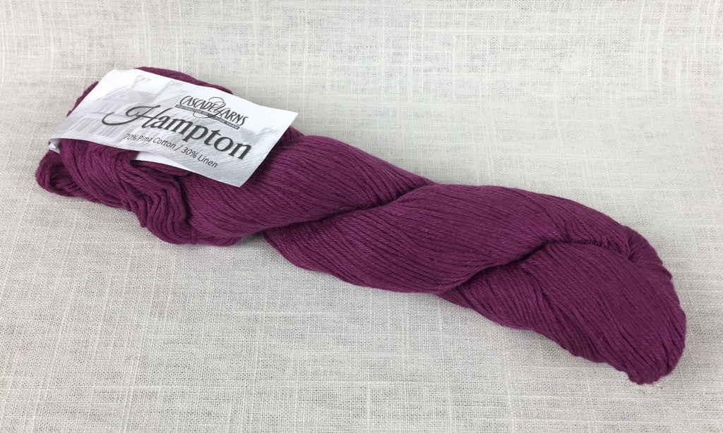 cascade yarns hampton linen cotton DK 02 raspberry