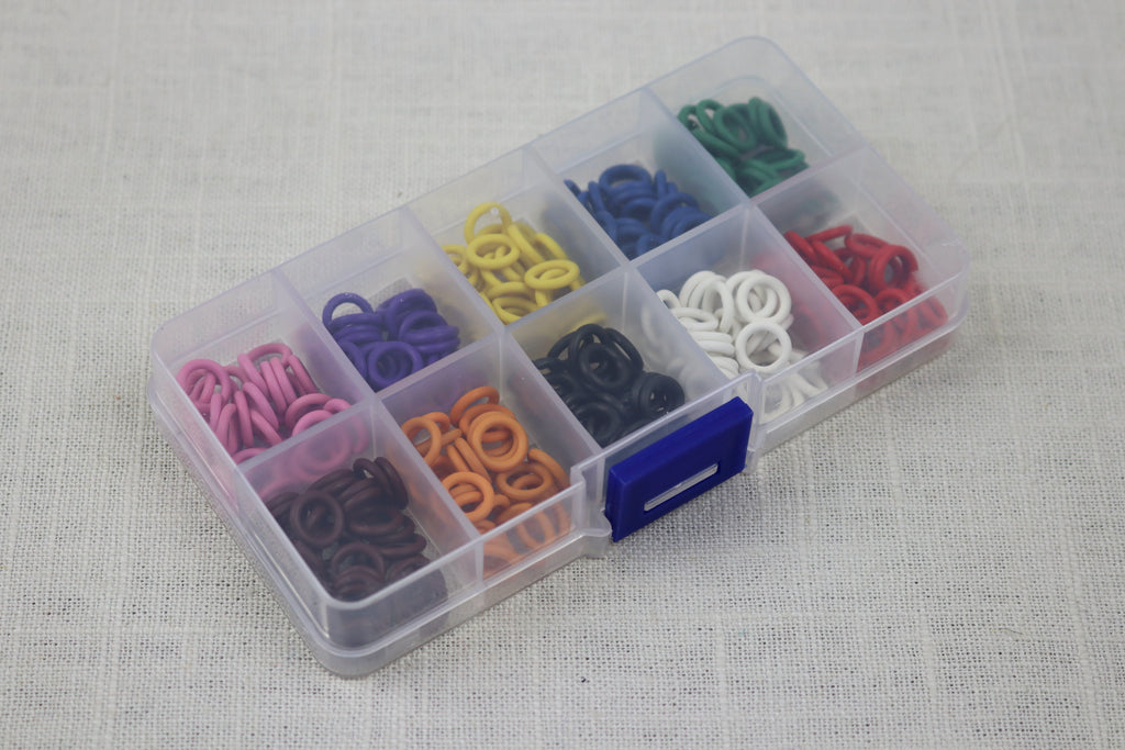 knitter's helper silicon stitch markers box of 10 colors 10mm