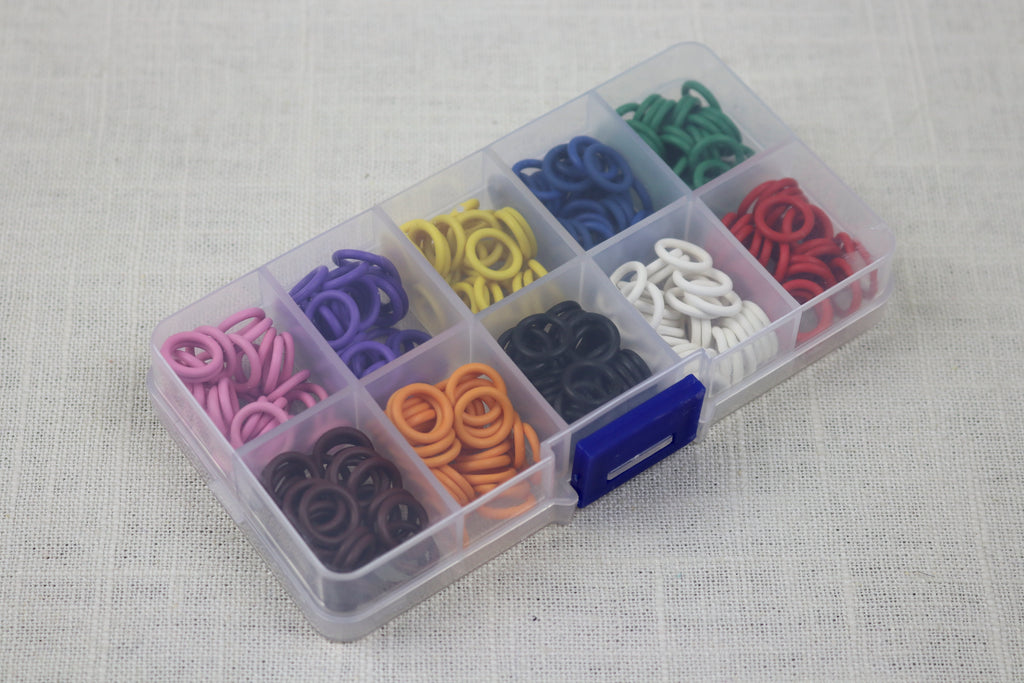 knitter's helper silicon stitch markers box of 10 colors 13mm