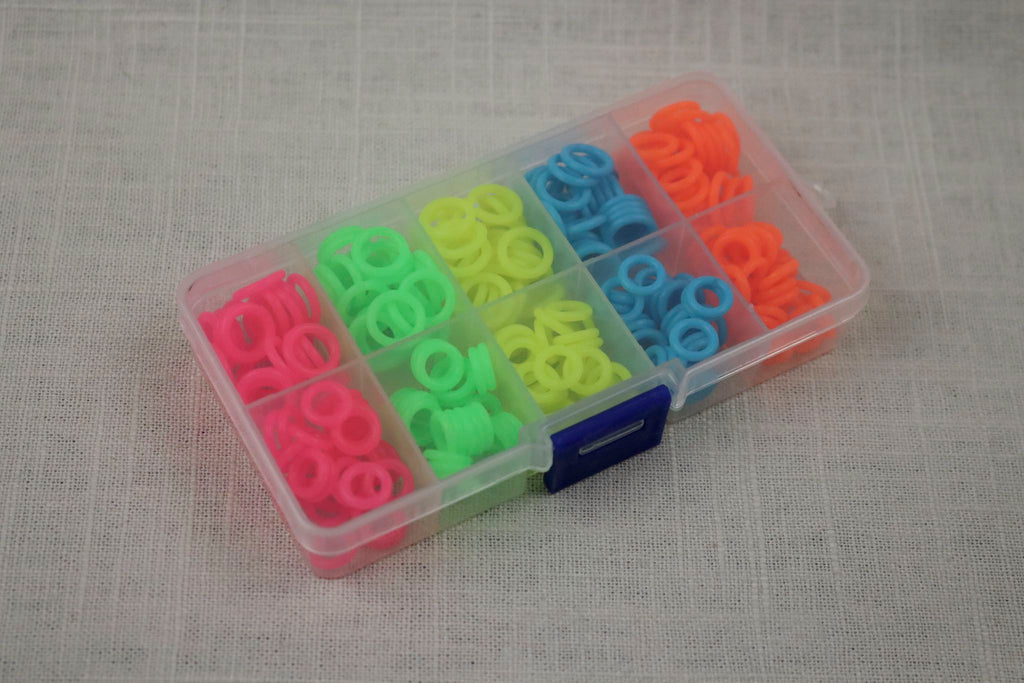 knitter's helper silicone stitch markers box neon