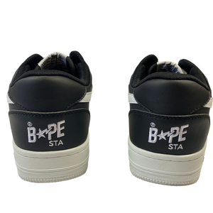 8 Bape Black & White Leather Sta With Box