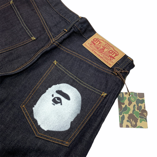 M Brand New Bape Ape Head Raw Denim 32 X 38