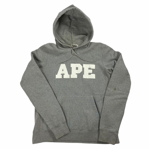 M Bape Grey Ape Heavy Cotton Hoody