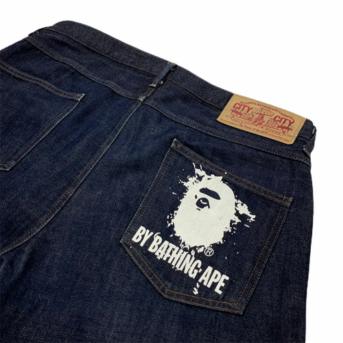 XL Bape Splatter Ape Head Blue Denim 36 x 36