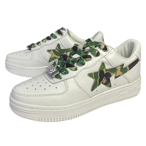 5 Brand New Bape White Leather Green Camo XXI Sta With Box