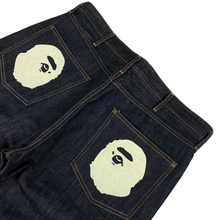 "Load image into Gallery viewer, XL 36"" x 36"" Bape Double Ape Head Raw Denim Jeans"