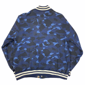 XL Bape Blue Camo Script Stadium Jacket
