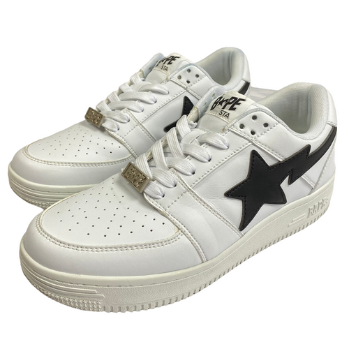 9 Bape White/Black Leather Sta