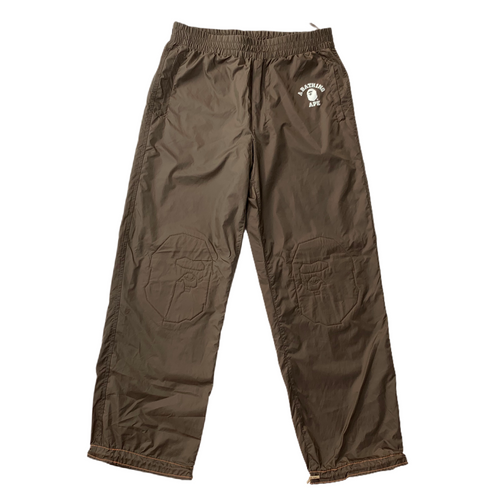 M Bape Brown Nylon Ape Head Pants