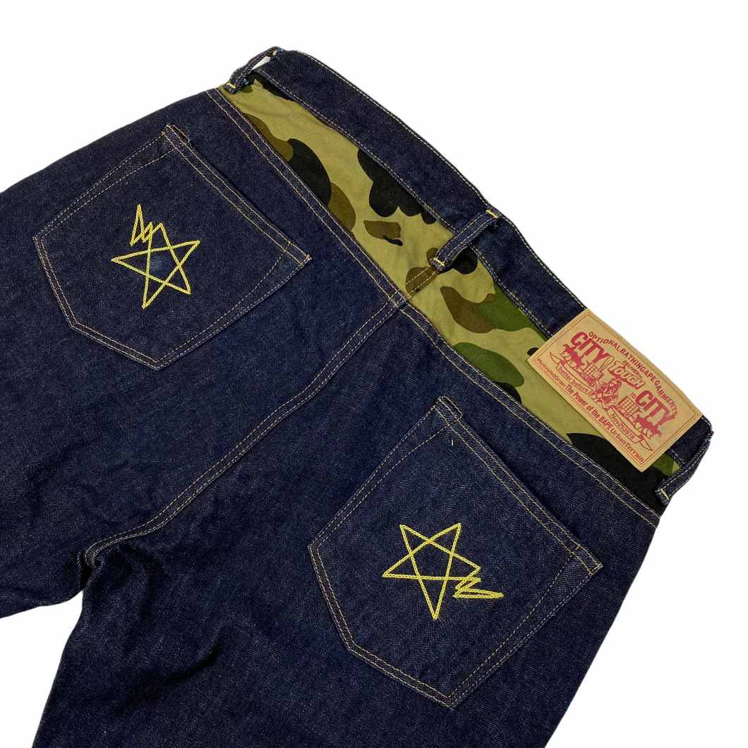 "M 32"" x 30"" Bape Double Chain Stitch Stars Camo Lined Denim"