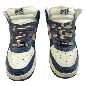 9 Bape Leather Plaid Mid Sta