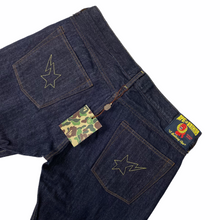 "Load image into Gallery viewer, L 34"" x 32"" Brand New Bape Double Star Dark Rinse Denim"