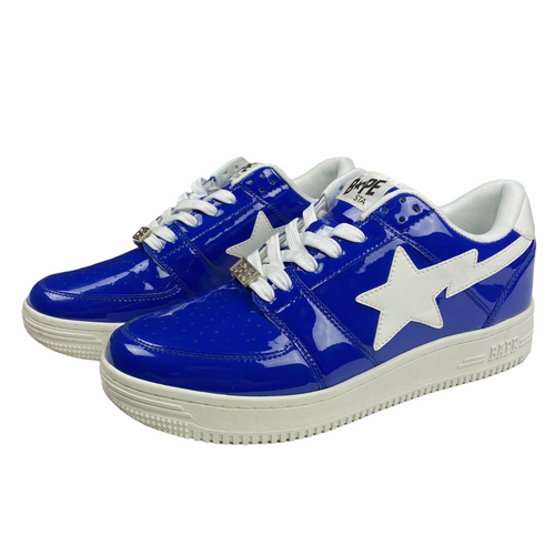 10 Bape Blue Patent Leather Sta With Box