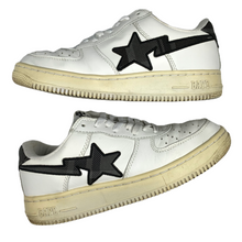 Load image into Gallery viewer, 9 Bape Grey Plaid White Leather Sta