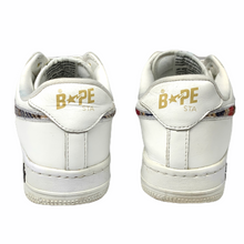 Load image into Gallery viewer, 8.5 Bape White Leather Plaid Sta
